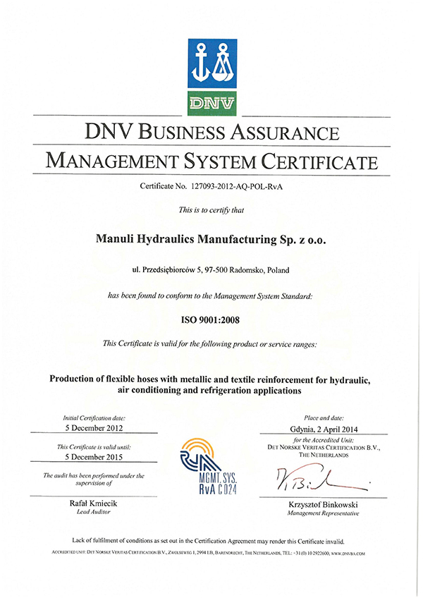 DNV BUSINESS ASSRURANCE MANAGEMENT SYSTEMU